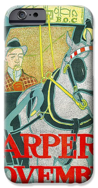 Horse And Buggy iPhone Cases - Hapers November iPhone Case by Edward Penfield
