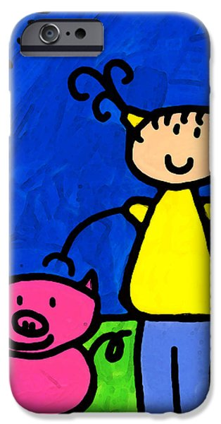 Elementary iPhone Cases - Happi Arte 1 - Girl With Pink Pig Art iPhone Case by Sharon Cummings