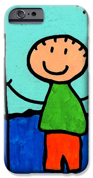 Figures iPhone Cases - Happi Arte 2 - Boy Fish Art iPhone Case by Sharon Cummings