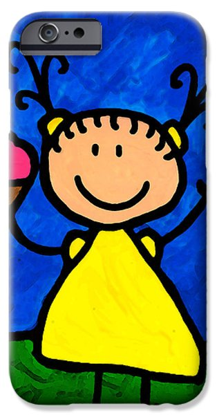 Little Girl iPhone Cases - Happi Arte 3 - Little Girl Ice Cream Cone Art iPhone Case by Sharon Cummings