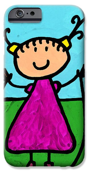 Little Girl iPhone Cases - Happi Arte 7 - Girl On Jump Rope Art iPhone Case by Sharon Cummings