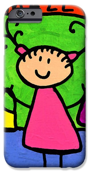 Little Girl iPhone Cases - Happi Arti 5 - Shopaholic Little Girl Art iPhone Case by Sharon Cummings