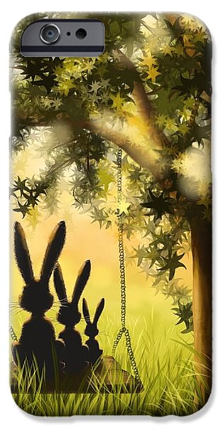 Rabbit iPhone Cases - Happily together iPhone Case by Veronica Minozzi