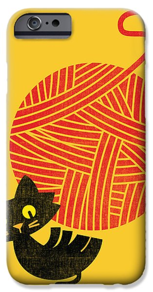 Happiness cat and yarn iPhone Case by Budi Satria Kwan