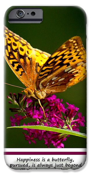 Couple iPhone Cases - Happiness is  Butterfly iPhone Case by Sandra Clark