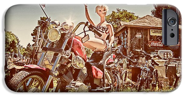 4th July Photographs iPhone Cases - Mannequin on Motorcycle  iPhone Case by Mary Lee Dereske