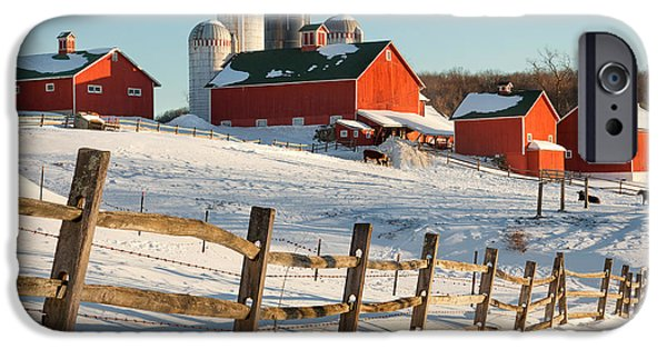 New England Snow Scene iPhone Cases - Happy Acres Farm iPhone Case by Bill  Wakeley