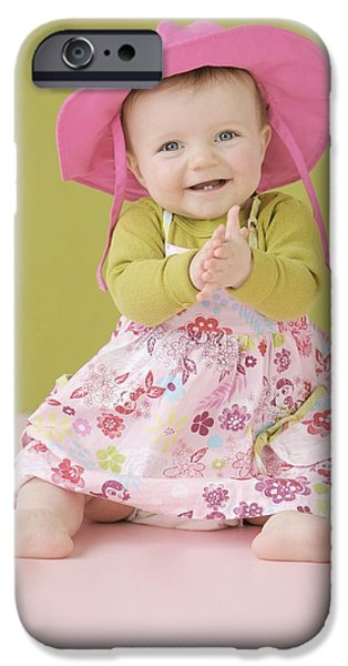 2 Seat iPhone Cases - Happy Baby Girl In Summer Dress iPhone Case by Colleen Cahill