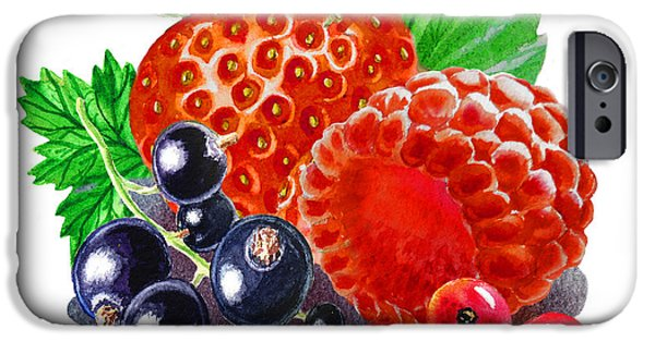 Electronic Paintings iPhone Cases - Happy Berry Mix iPhone Case by Irina Sztukowski