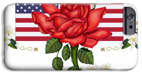 4th July Paintings iPhone Cases - Happy Birthday America iPhone Case by Anne Norskog