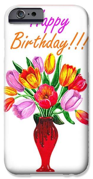 Flower Bouquet iPhone Cases - Happy Birthday Bouquet  iPhone Case by Irina Sztukowski