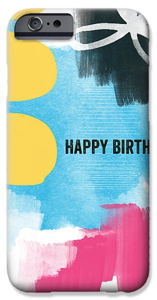 Greetings iPhone Cases - Happy Birthday- Colorful Abstract Greeting Card iPhone Case by Linda Woods