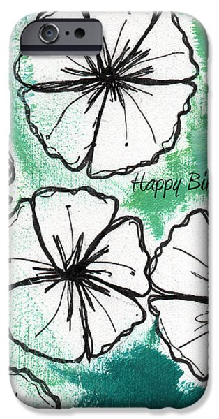 Black And White Florals iPhone Cases - Happy Birthday- Floral Birthday Card iPhone Case by Linda Woods