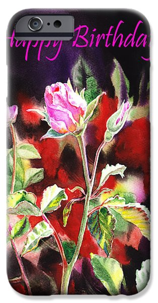 Rose iPhone Cases - Happy Birthday Rose iPhone Case by Irina Sztukowski