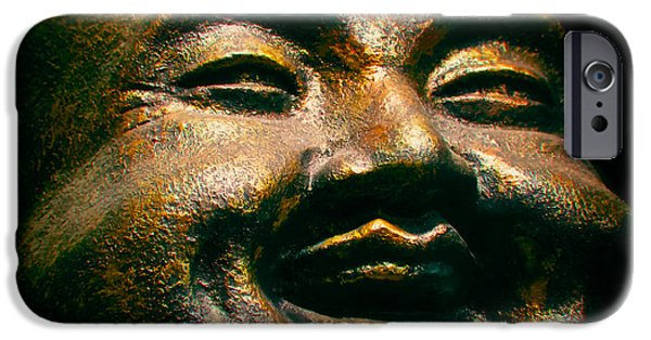 Statue Portrait iPhone Cases - Happy Buddha iPhone Case by Mark Miller