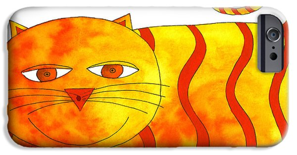 Animal Drawings iPhone Cases - Happy Cat iPhone Case by Julie Nicholls