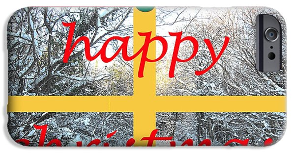 Miracle Mixed Media iPhone Cases - Happy Christmas 11 iPhone Case by Patrick J Murphy