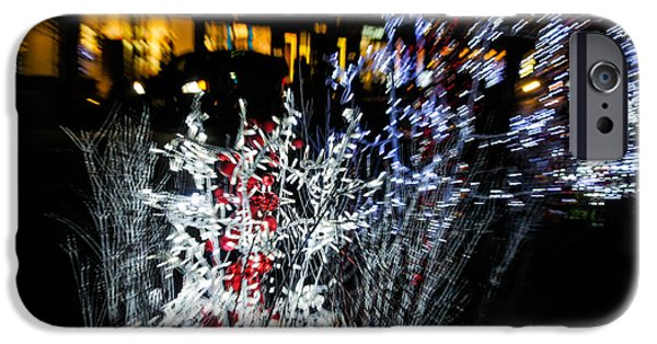 Night Lamp iPhone Cases - Happy Christmas Burst - Abstract Christmas Lights Series iPhone Case by Georgia Mizuleva