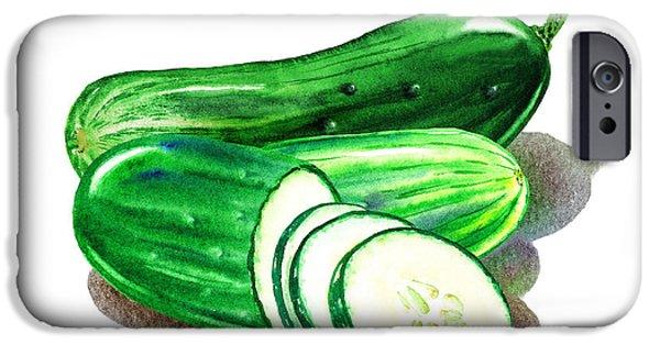 Nature Study Paintings iPhone Cases - Happy Cucumbers iPhone Case by Irina Sztukowski