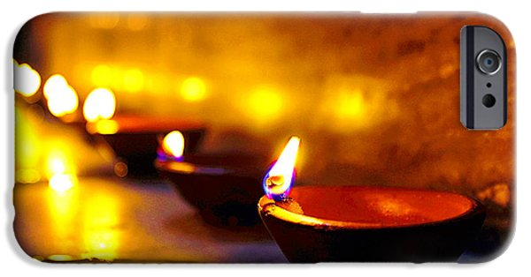 Oil Lamp Photographs iPhone Cases - Happy Diwali iPhone Case by Prakash Ghai