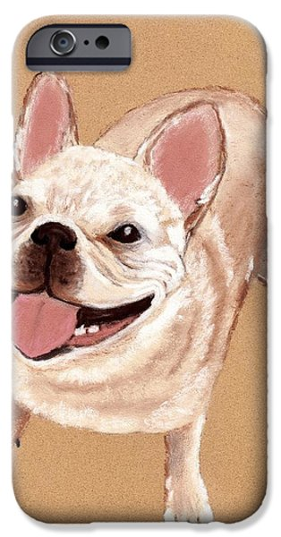 Small Pastels iPhone Cases - Happy Dog iPhone Case by Anastasiya Malakhova