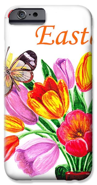 Easter Celebration iPhone Cases - Happy Easter Butterfly iPhone Case by Irina Sztukowski