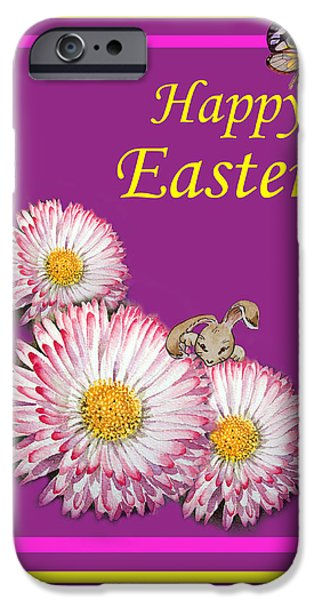 Easter Celebration iPhone Cases - Happy Easter Hiding Bunny iPhone Case by Irina Sztukowski