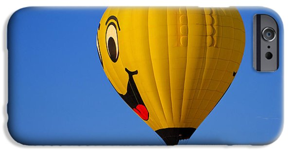 Balloon Vendor iPhone Cases - Happy Face Hot Air Balloon iPhone Case by Geraldine Scull