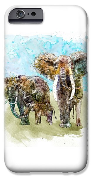 Large Mammals iPhone Cases - Happy Family iPhone Case by Marian Voicu