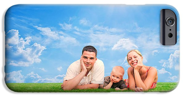 Women Together iPhone Cases - Happy family together on grass iPhone Case by Michal Bednarek