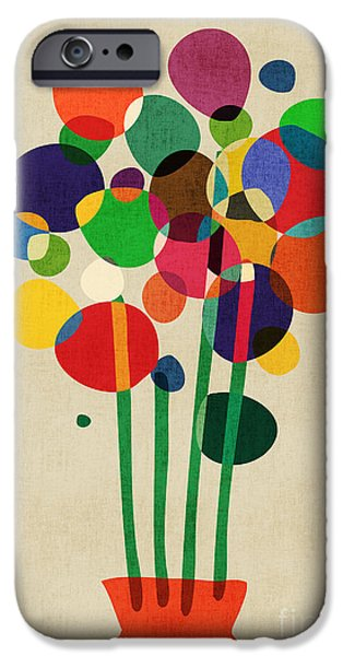 Retro Abstract iPhone Cases - Happy Flowers in The Vase iPhone Case by Budi Kwan