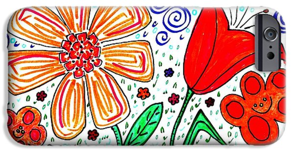 Vivid Drawings iPhone Cases - Happy Flowers iPhone Case by Sarah Loft
