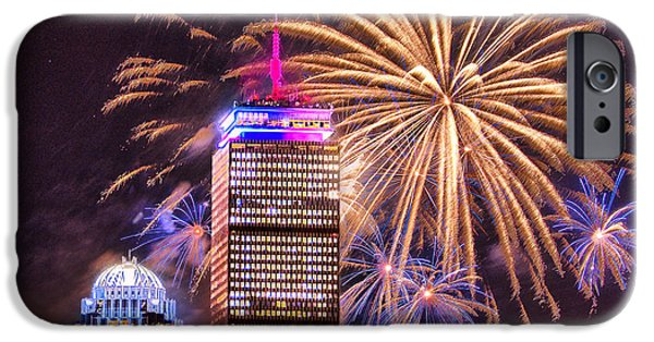 Boston Ma iPhone Cases - Happy Fourth of July from Boston iPhone Case by Ludmila Nayvelt
