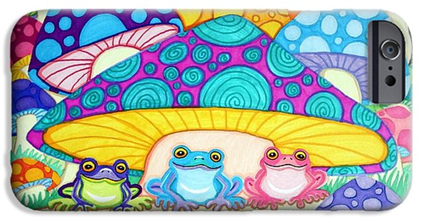 Amphibians Digital Art iPhone Cases - Happy Frogs in the Starlight  iPhone Case by Nick Gustafson