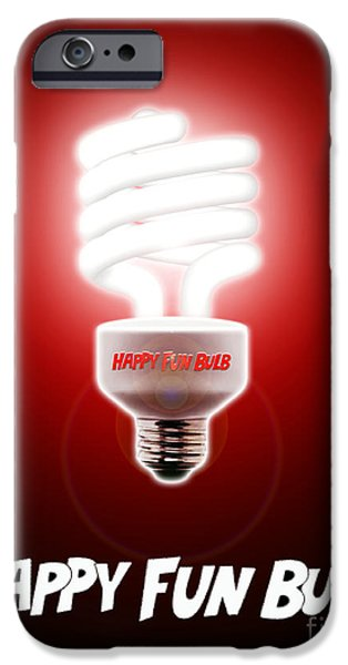 Spoof iPhone Cases - Happy Fun Bulb iPhone Case by Cristophers Dream Artistry