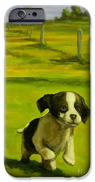 Puppies iPhone Cases - Happy go Lucky iPhone Case by John Malone