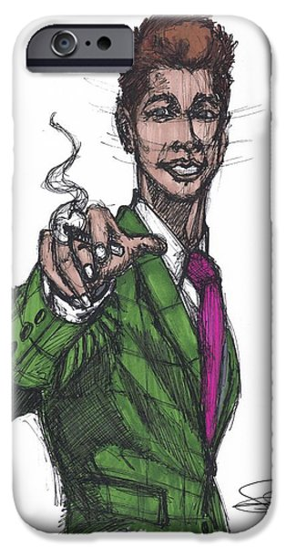 Boss Paintings iPhone Cases - Happy Green Suit iPhone Case by SKIP Smith