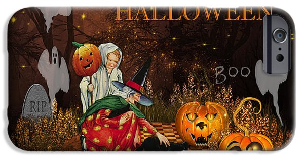 Thanksgiving Digital iPhone Cases - Happy Halloween-Boo iPhone Case by Jean Plout