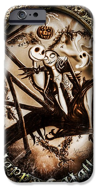 Christmas Greeting iPhone Cases - Happy Halloween III sepia version iPhone Case by Alessandro Della Pietra