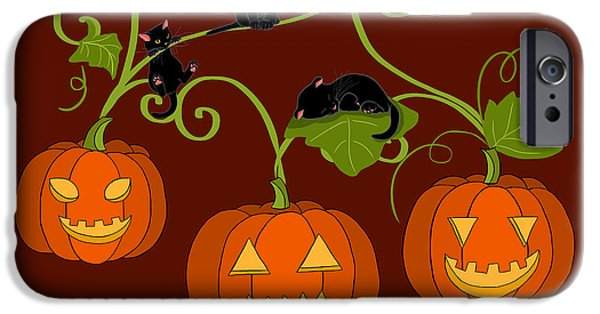Holiday Digital Art iPhone Cases - Happy Halloween iPhone Case by Veronica Minozzi