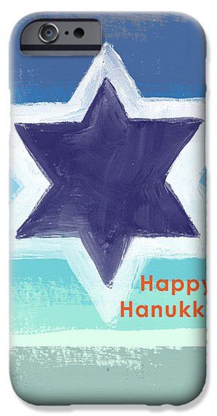 David Mixed Media iPhone Cases - Happy Hanukkah Card iPhone Case by Linda Woods