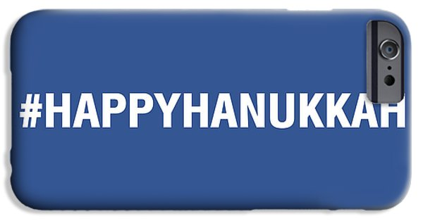 Holiday Card iPhone Cases - Happy Hanukkah Hastag iPhone Case by Linda Woods