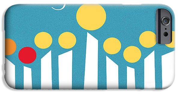 Israel iPhone Cases - Happy Hanukkah Menorah Card iPhone Case by Linda Woods