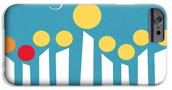 Holiday Card iPhone Cases - Happy Hanukkah Menorah Card iPhone Case by Linda Woods