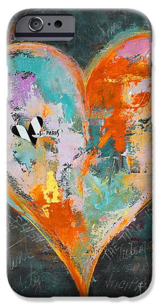 Empower iPhone Cases - Happy Heart Abstracted iPhone Case by Anahi DeCanio