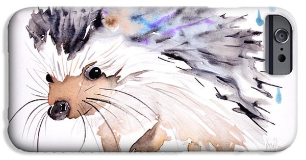 Kids Prints Paintings iPhone Cases - Happy hedgehog iPhone Case by Kristina Broza