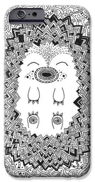 Balck Art iPhone Cases - Happy Hog iPhone Case by Susan Claire