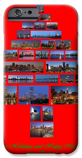 Custom House Tower iPhone Cases - Happy Holidays and Happy New Year from Boston iPhone Case by Juergen Roth