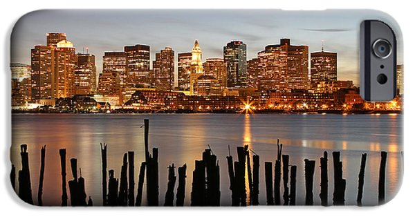 City. Boston iPhone Cases - Happy Holidays Boston iPhone Case by Juergen Roth
