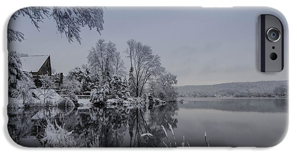 Recently Sold -  - Snowy iPhone Cases - Happy Holidays from Lake Musconetcong iPhone Case by GeeLeesa Productions